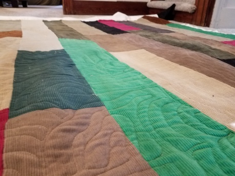 freemotion quilting on courduroy